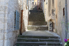 Street view in Pula, Istria. Street view with steps in Pula, Istria, Croatia royalty free stock images