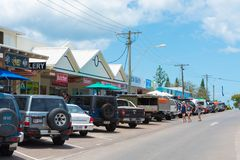 Street view at Rainbow Beach, QLD, Australia stock images
