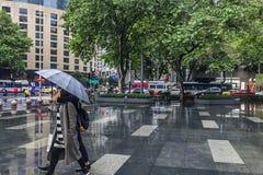 Street view when it rains Stock Photos
