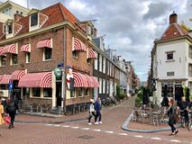 Street view and restaurant facade in Amsterdam stock image