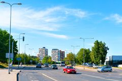 Street view of road with cars and residential buildings Vilnius royalty free stock images