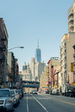 Street view on Road and Freedom Tower in Financial District in L Stock Photo