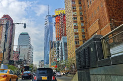 Street view of Road and Freedom Tower in Financial District Stock Photos