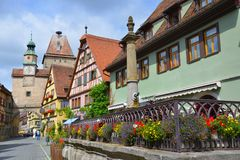 Street view of Rothenburg ob der Tauber, Germany Royalty Free Stock Images
