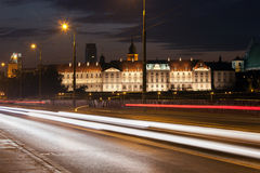 Street View of the Royal Castle at Night in Warsaw Stock Image