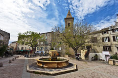 Street view in Saint-Florent. Doria square street view in Saint-Florent city in Corsica Island, Haute-Corse, France Royalty Free Stock Images