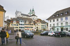 Street view of Saint Ursus Cathedral in Solothurn Stock Photography