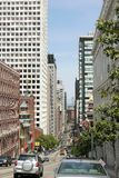 A street view in San Francisco CA. Walking in the city on a sunny day in San Francisco California Royalty Free Stock Photo