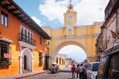 Street view with Santa Catalina Arch royalty free stock images