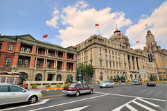 Street view in Shanghai Bund, China. China Shanghai Bund street view and aged business buildings, shown as Shanghai city view as economy center in China, and Royalty Free Stock Photo