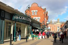 Street view of shoppers by Corn Exchange, Lincoln Royalty Free Stock Photo