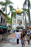 Street view of Singapore with Masjid Sultan Stock Photos