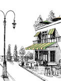 Street view sketch. Street view of a retro city restaurant terrace,  sketch Stock Photography