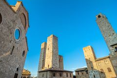 Street view with skyline in San Gimignano, Italy Royalty Free Stock Photography