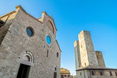 Street view with skyline in San Gimignano, Italy Royalty Free Stock Photo
