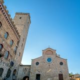 Street view with skyline in San Gimignano, Italy Stock Photography