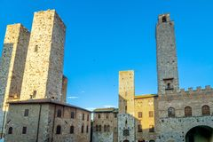 Street view with skyline in San Gimignano, Italy Royalty Free Stock Photos