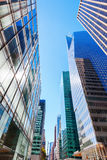 Street view with skyscrapers in Manhattan, NYC Royalty Free Stock Image