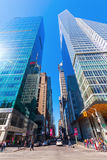 Street view with skyscrapers in Manhattan, NYC Royalty Free Stock Photo