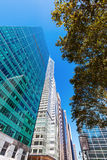 Street view with skyscrapers in Manhattan, NYC Royalty Free Stock Photos