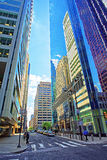 Street view with skyscrapers reflected in glass in Philadelphia Center. Street view with skyscrapers reflected in glass in the City Center of Philadelphia Royalty Free Stock Image