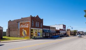 Street view in a small village in Oklahoma at Route 66 - STROUD - OKLAHOMA - OCTOBER 16, 2017. Photography Royalty Free Stock Images