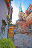 Street view at St James Cathedral in the Old city of Riga in Lat Royalty Free Stock Photography
