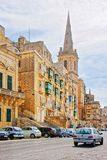 Street view on St Paul Cathedral in Valletta old town. Street view on spire of St Paul Cathedral in Valletta old town, Malta Stock Photos