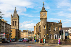 Street view of Stockbridge in Edinburgh, Scotland. Edinburgh, Scotland - September 10, 2016: street view of Stockbridge with unidentified people. Stockbridge is royalty free stock photos