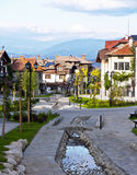 Street view and stone paved road, Bansko, Bulgaria Royalty Free Stock Images