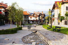 Street view and stone paved road, Bansko, Bulgaria Royalty Free Stock Photo