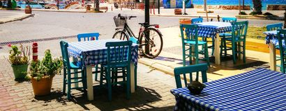 Street view in the summer. In Cesme, Izmir, Turkey Stock Image