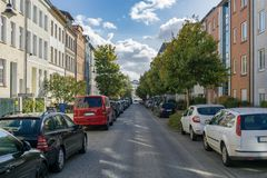 Street view at a sunny day stock image