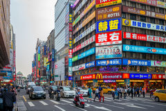 Street view of Taipei city near the Taipei Main Station Stock Photos