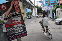 Street View with Thai Election Placard Stock Images