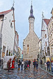 Street view to the back of Town Hall in the Old city of Tallinn Stock Photography