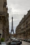 Street with a view to Eiffel Tower Royalty Free Stock Image