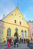 Street view to the Estonian History Museum in the Old city of Tallin royalty free stock photos