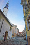 Street view to Holy Spirit Church in the Old city of Tallinn in Royalty Free Stock Photos