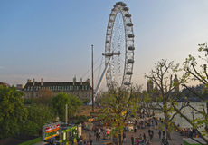 Street view to London Eye near River Thames in London Royalty Free Stock Photos