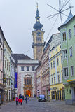 Street view to Minorite Church in Linz in winter Austria Stock Photos