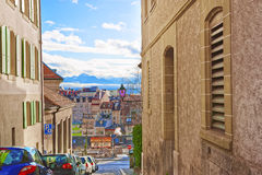 Street view to Old Town of Lausanne Stock Photo