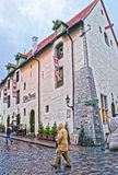 Street view to the Olde Hansa restaurant in the Old city of Tallinn Royalty Free Stock Photo