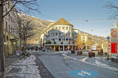 Street view to the shopping part of the Old Town of Chur royalty free stock photo