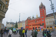 Street view to Town Hall in the Marktplatz in Basel Stock Image
