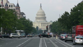Street view to us capitol building time lapse stock video