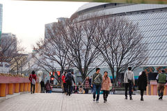 Street view in Tokyo, Japan. People walking at Tokyo Dome Park in Ueno district in Tokyo, Japan stock photography