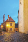 Street view on the Toompea hill in the evening in Tallinn in Est Royalty Free Stock Photos