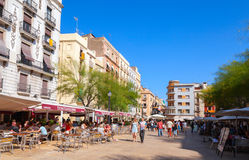 Street view with tourists, Tarragona Royalty Free Stock Photos