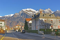 Street view in the Town of Bad Ragaz Stock Photos